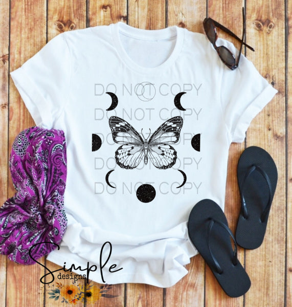 Butterfly and Moon Phases T-shirt, Custom Tees, Tank Tops