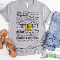 Jimmy Buffett Lyrics T-shirt, Raglan, Music Lyrics