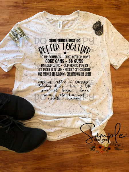 Some Things Just Go Better Together Words T-shirt, Country Music Graphic Tees, Custom Raglans