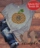 Chevron Monogrammed Pumpkin T-shirt, Fall Sale, Pumpkin, Autumn, Favorite Season