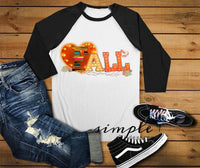 Love Fall Raglan, Fall-time T-shirt, Fall, Halloween