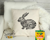 Abstract Rabbit Happy Easter Color-It, Washable Marker Designs, Puzzle, Pillow Cases
