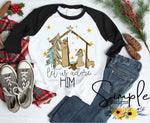 Let Us Adore Him T-shirt, Christmas Shirts, Nativity Scene