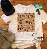 Grateful Thankful Blessed Gold Glitter T-shirt, Long Sleeve Tees, Raglans, Fall