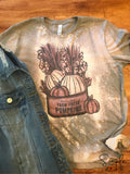 Hand-picked Farm Fresh Pumpkins Fall T-shirt, Custom Tees, Bleached Design