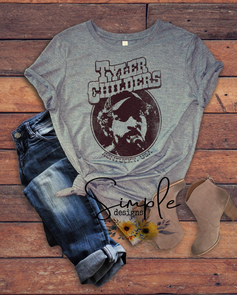 Tyler Childers Retro Look T-shirt, Country Music Shirts, Kids, Youth, Raglan