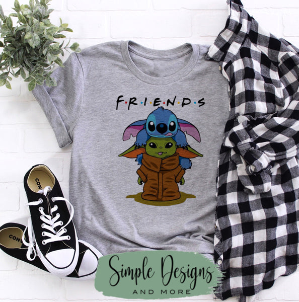 Friends Yoda and Stitch T-shirt, Graphic Tees, Custom Raglans