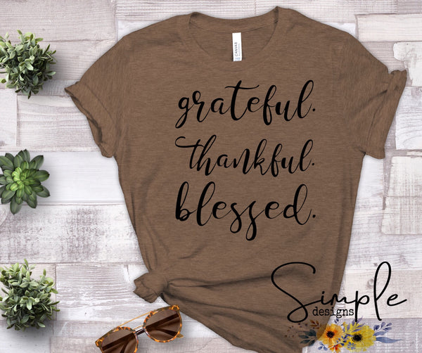 Grateful Thankful Blessed T-shirt Sale Bella Canvas Tees