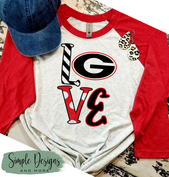 LOVE with GA G T-shirt, GA Bulldogs Raglan, GO DAWGS, Fall, Football, Custom Tees, Personalized Teams
