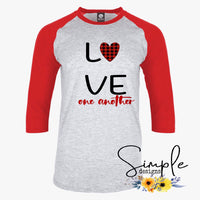 Love One Another Buffalo Plaid Heart T-shirt, Valentines Day, Love Never Fails, Love One Another