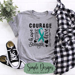 Courage Cervical Cancer T-shirt, Awareness Graphic Tees, Custom Raglans