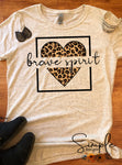 Brave Spirit Leopard Heart T-shirt, Cute Custom Shirt, Inspirational Tees