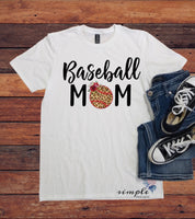 Cheetah Print Baseball Mom T-Shirt, Baseball Lover Shirt, Baseball Player Mom