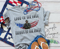 Land of the Free Thank to the Brave T-shirt, Custom Tees, Tank Tops