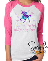 Believe in Love Unicorn T-shirt, Unicorn, Magical