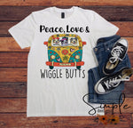 Peace Love and Wiggle Butts T-shirt, Australian Shepherds, Pet Shirt, Dog