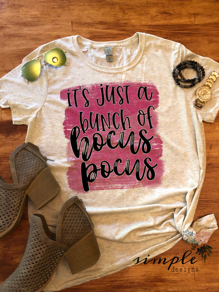 It's Just a Bunch of Hocus Pocus Pink and Black T-shirt, Long Sleeve Tees, Raglans, Fall