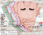 Pastel Lashes and Mask T-shirts, Quarantine Canvas