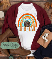 Hello Fall Rainbow Mint With Leopard Pumpkin T-Shirt, Fall, Halloween, Custom Tees