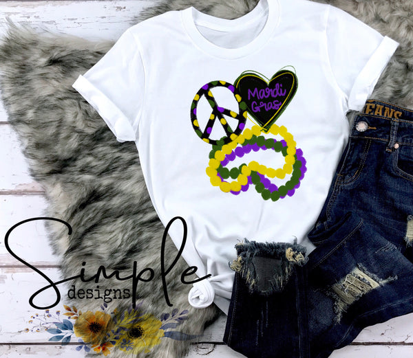 Peace Love and Beads T-shirt, Mardi Gras, NOLA, New Orleans, King Cake