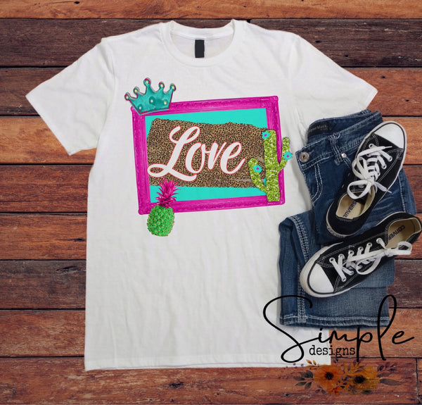 Frame Tiara Love T-shirt, Valentines Day, Love Never Fails, Love One Another