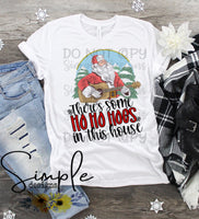 Guitar Santa There's Some Hoes in This House T-shirt, Cute Humor Graphic Tees, Custom Raglans