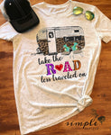 Take the Road Less Traveled On T-shirt, Road Less Traveled Shirt, Camping Tee, Vintage Tee, Retro Camper