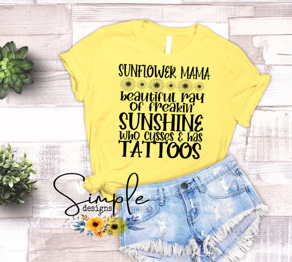 Custom Name Sunflower Ray of Freakin Sunshine  T-shirt, Custom Tees, Tank Tops