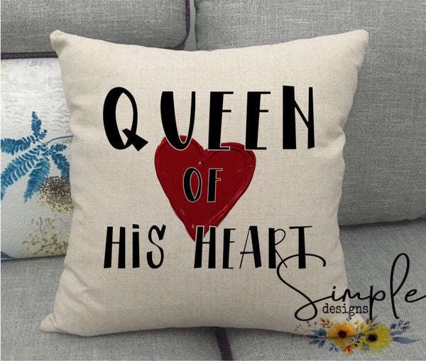 Queen of His Heart Love Valentine's Day Pillow Sham, Decorative Pillow Cases, Throw Pillow