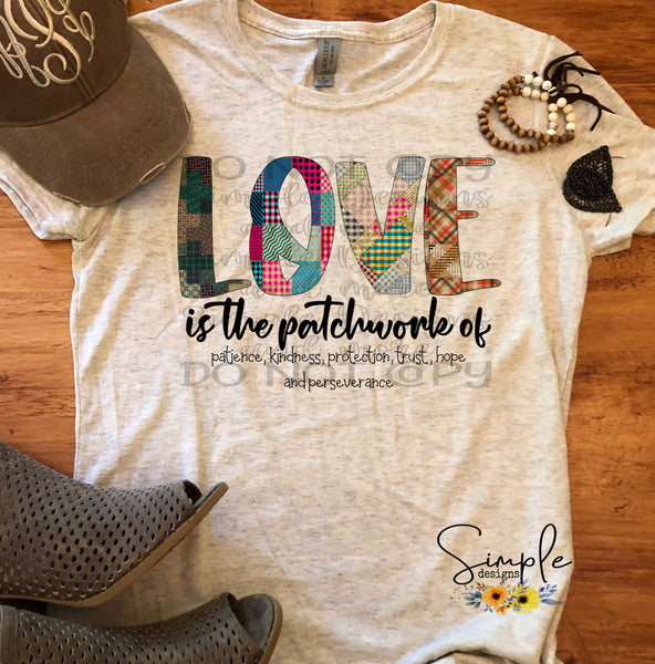 LOVE is the Patchwork T-shirt, Faith Graphic Tees, Custom Raglans