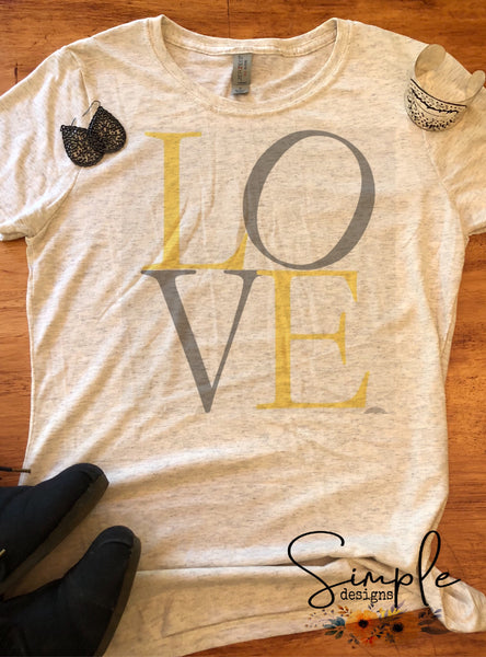 Grey and Yellow LOVE T-shirt, Valentines Day, Love Never Fails, Love One Another