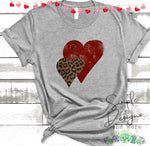 Double Hearts T-shirt, Inspirational, Love Graphic Tees, Custom Raglans