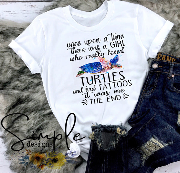 Once Upon a Time There Was a Girl Who Loved Turtles T-shirt, Wildlife, Custom Tees