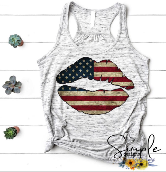 Lips Patriotic T-shirt,Independence Day,4th Of July