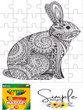 Bunny Abstract Print Happy Easter Color-It, Washable Marker Designs, Puzzle, Pillow Cases
