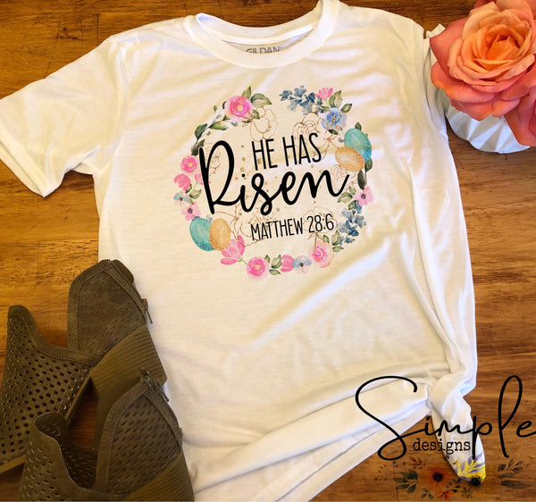 He Has Risen Wreath Easter Custom Easter Shirts, Adult, Kids, Youth