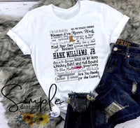 Hank Williams Jr Lyrics T-shirt, Raglan, Music Lyrics