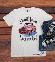 Small Town American Girl T-shirt, Antique Truck, Vintage, Retro