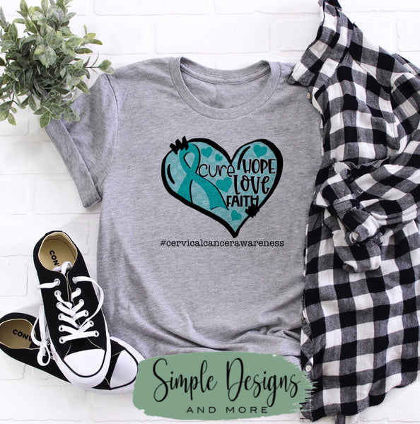 Cervical Cancer Heart T-shirt, Awareness Graphic Tees, Custom Raglans