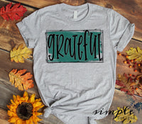 Grateful Teal Banner T-shirt, Long Sleeve Tees, Raglans, Fall