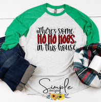 There's Some Hoes in This House T-shirt, Cute Humor Graphic Tees, Custom Raglans