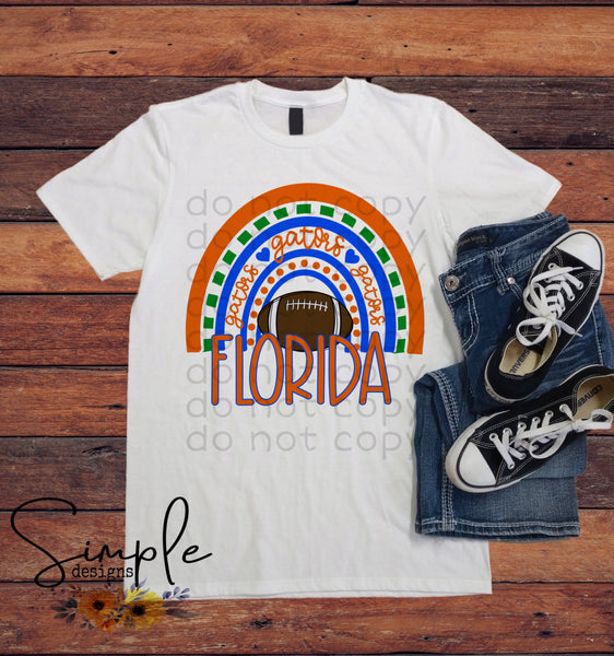 Florida Gators Rainbow Tshirt, Sports Tees, Football Raglans