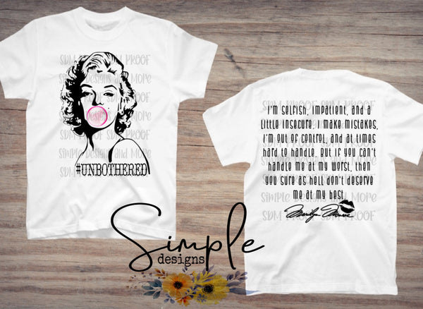 Unbothered With Quote T-shirt, Raglan, Marilyn Monroe