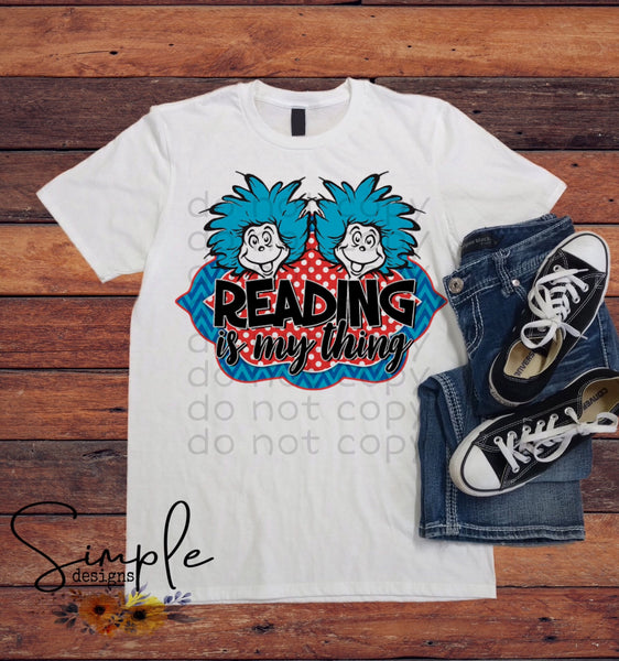 Reading is My Thing T-shirt, Dr Seuss, Kids, Youth, Raglan