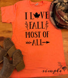 I Love Fall Most of All Bella Canvas T-shirt Sale