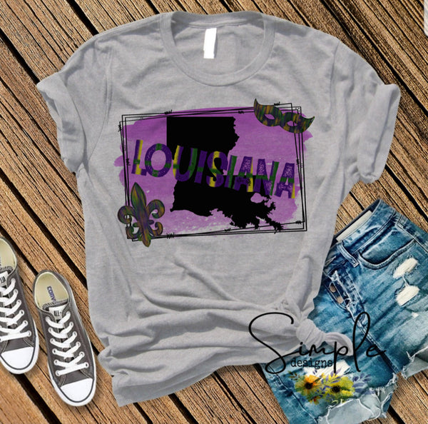 Purple Louisana LA State T-shirt, Mardi Gras, NOLA, New Orleans, King Cake