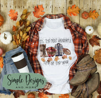 It's the Most Wonderful Time of Year T-shirt, Fall, Apples, Boots, Sweaters Tees, Fall Raglans