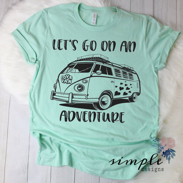 Let's Go On An Adventure T-shirt, Love Van Shirt, Vintage Bus Shirt
