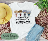 Thank You For Being a Friend T-shirt, Graphic Tees, Custom Raglans
