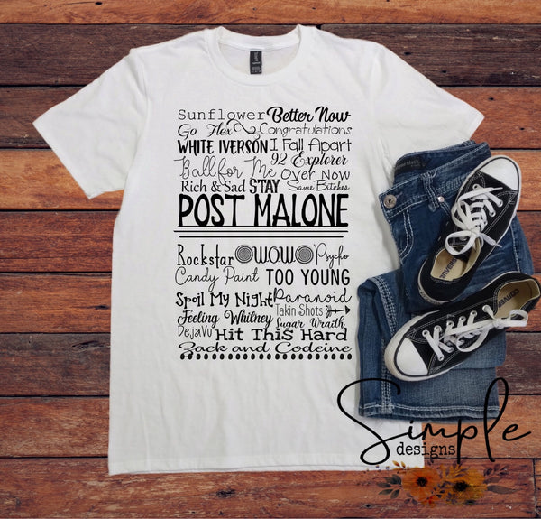 Post Malone Lyrics T-shirt, Raglan, Music Lyrics